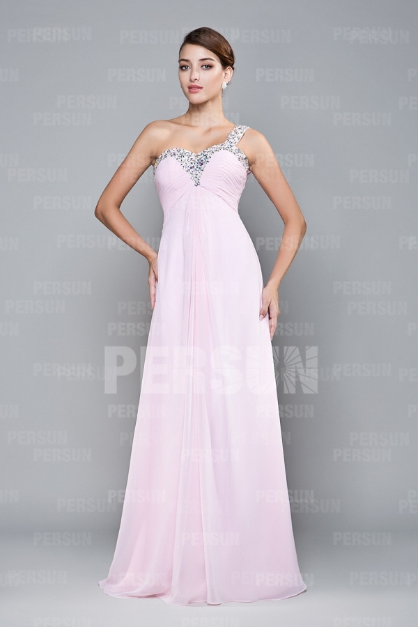 Sexy One shoulder Empire Open back Beading Pink Military Ball dress [FCLA308547] - PersunMall.com
