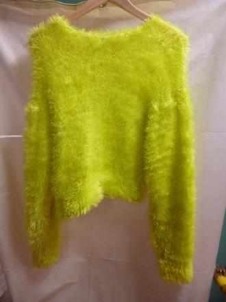 sweater green green sweater fluffy acid green