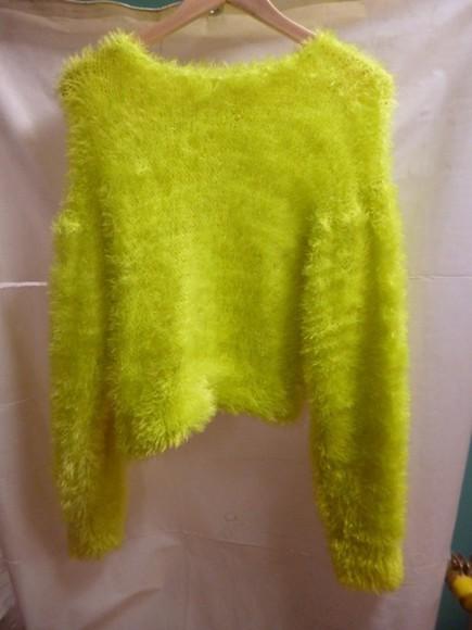 green sweater sweater green fluffy acid green fluffy sweater