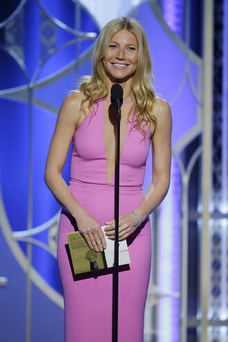 pink dress golden globes 2015 gwyneth paltrow
