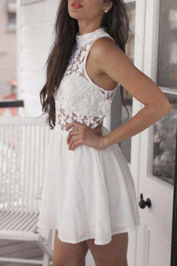 dress white lace short dress fashion style mini dress trendy tan sexy cute girly summer spring beautifulhalo