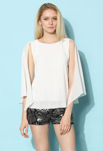 top chicwish flap top cape top white top retro top summer top spring top chicwish.com