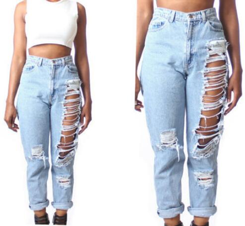 com : Buy Women Vintage Holes Ripped jeans Blue White Retro Denim ...