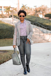 pinksole,blogger,sunglasses,jewels,jacket,shirt,jeans,shoes,bag,grey bag,ankle boots,skinny jeans,striped shirt
