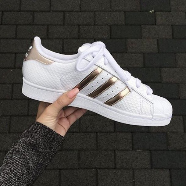 shoes, adidas orginals, white, gold, rose gold, adidas, superstar, stan smith, white sneakers, adidas shoes, adidas superstars, adidas superstars, shorts, ...