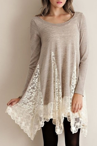 top lace cute long sleeves girly fall outfits winter sweater fashion style romantic long top asymmetrical dress blouse dress