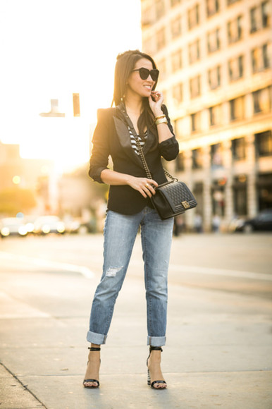 wendy's lookbook blogger jacket bag sunglasses jewels tailoring striped shirt ripped jeans quilted blazer