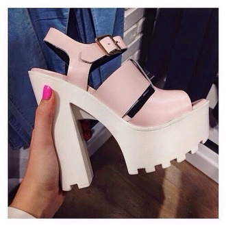 shoes wedge pink & white wedge shoes strap on sandles platform shoes high heels white and pink lovely classy sandals hipster