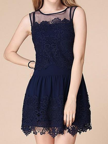 Vestido De Encaje Y Hombro De Malla En Azul Oscuro - Choies.com