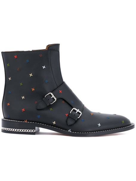 Givenchy women buckle boots leather black shoes
