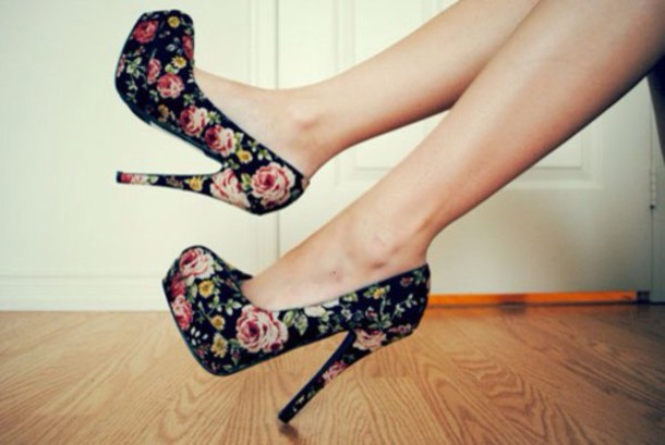 shoes heels high heels floral black flowers nails nail polish make-up