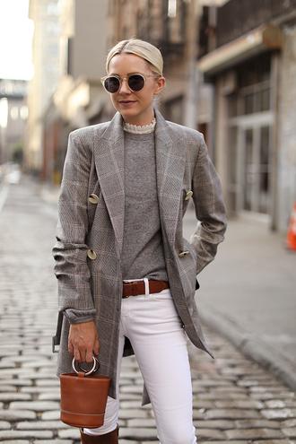 coat grey coat brown bag grey sweater tumblr plaid plaid coat denim jeans white jeans bag sunglasses sweater