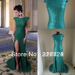 Großhandel  2012 neu design Überwurfhülse stehkragen pailletten perlen grün Längsseite cut  Outs abendkleider