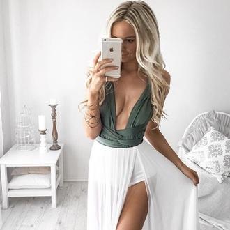 dress olive green dark green white bodysuit sexy skirt maxi dress maxi skirt khaki dress
