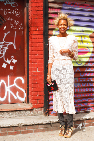 man repeller blogger white dress white lace dress lace dress wedges spring outfits black girls killin it