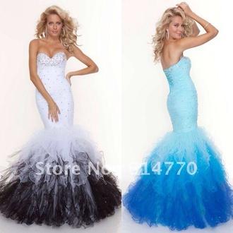 dress prom dress mermaid prom dress white and black dress