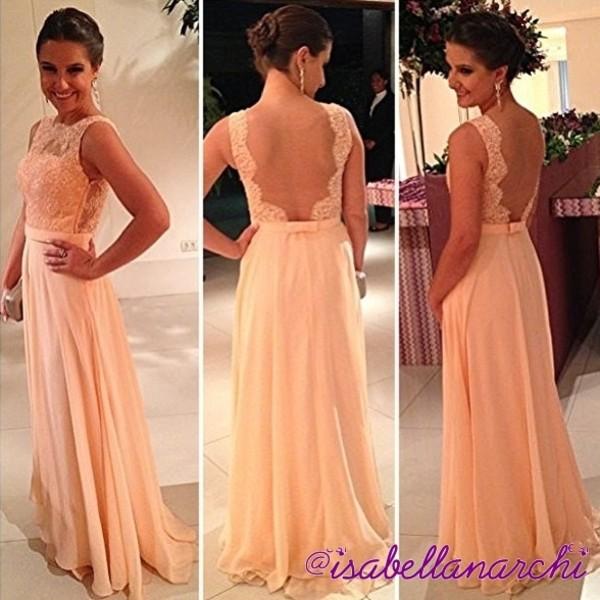 dress clothes peach dress long lace low back prom dress long prom dress lace dress bridesmaid