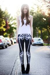 pants,skeleton,black,emo,bones,leggings,skinny jeans