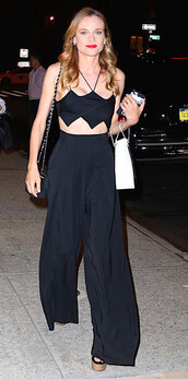 pants,high waisted,diane kruger,summer,summer outfits,two-piece,crop tops,crop,top,all black everything,wedges,blouse,asymmetrical