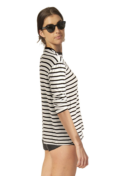 Knit Stripe White & Black Crew Neck Tee