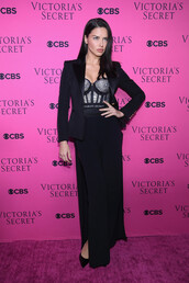 top,bustier,adriana lima,pants,model,blazer,glitter,bra,bralette,victoria's secret,victoria's secret model