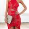 Red halter overlay asymmetric lace bodycon dress
