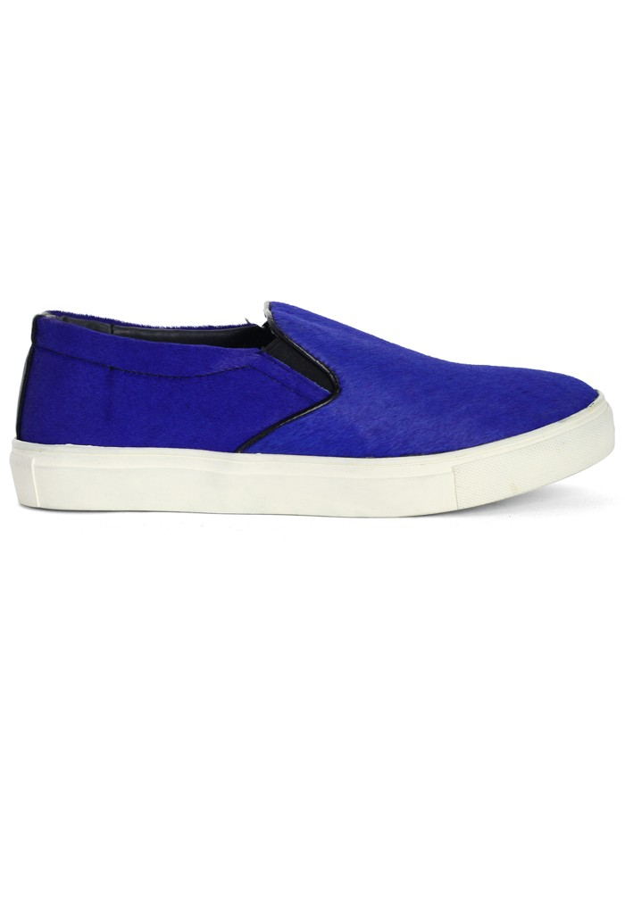 Bright Blue Pony Slip On Sneakers - Retro, Indie and Unique Fashion