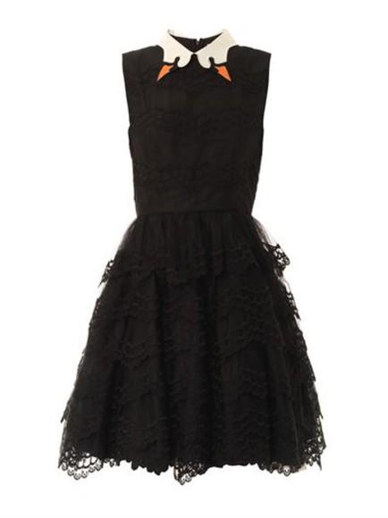 swan valentino collar black dress