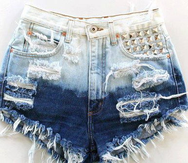 Hipster Ombre Studded Shorts - Arad Denim
