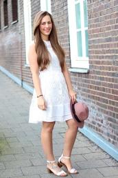 lace dress,white dress,fedora,sandals,zara,blogger