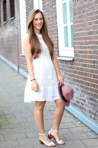 lace dress white dress fedora sandals zara blogger