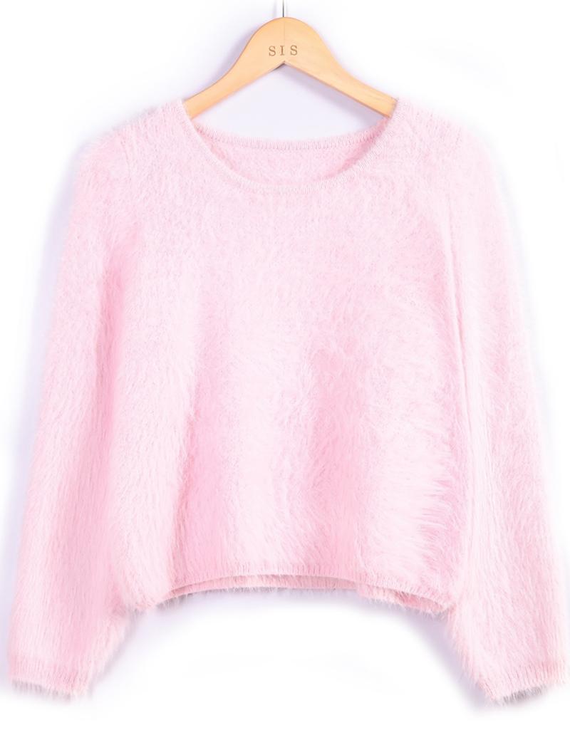 Pink long sleeve shaggy crop sweater