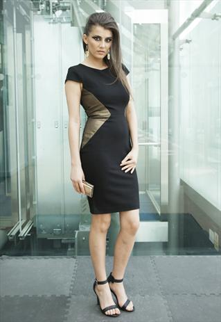 Gold & Black Panelled Body Con Jersey Stretch Dress   Yan Neo London Boutique   ASOS Marketplace