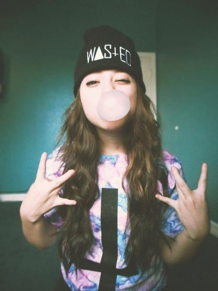 shirt tumblr tumblr girl tye dye upside down cross black hat wasted