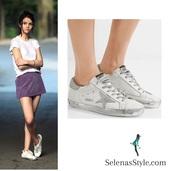 shoes,golden goose,selena gomez,silver star,white sneakers