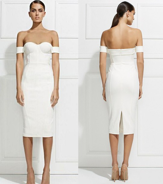 19c5f0ddb29a6 dress dream it wear it dress white white dress midi midi dress off the  shoulder off
