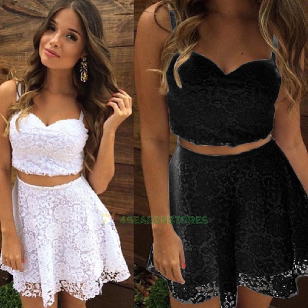 Women Lace Bodycon Dress Skirt and Crop V-Neck Tops 2-Piece Party ...