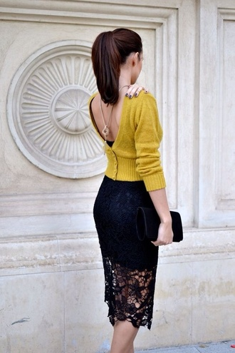 lace skirt midi skirt mustard black skirt necklace backless cardigan