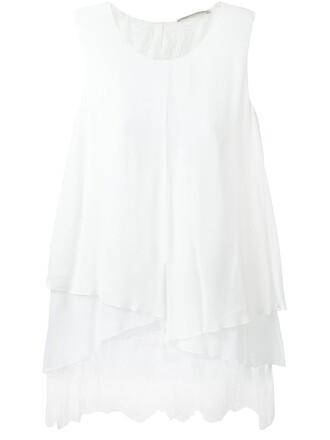 blouse sleeveless women lace white silk top