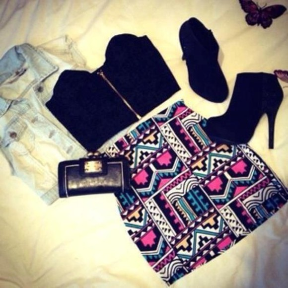 skirt aztec pattern colourful clothes tank top shoes jacket bag swimwear t-shirt shirt zip up black crop top little black boots aztec skirt black crop top denim jacket black tribal high heels