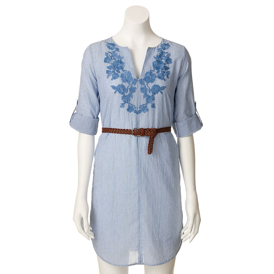 Lc lauren conrad striped embroidered tunic shirtdress