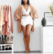 top,crop tops,white,v neck,set,short skirt