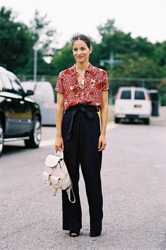 vanessa jackman blogger black pants wide-leg pants floral shirt