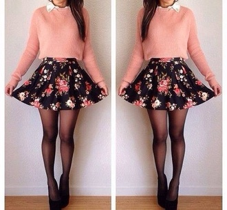 skirt flowers floral colorful pink besutiful skater skirt floral skater skirt socks sweater cotten wool light pink jumper vintage black and pink