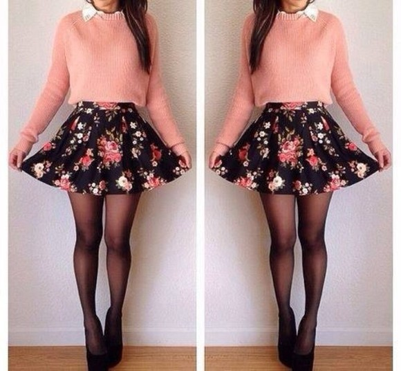 skirt light pink cotten wool jumper vintage flower floral colorful pink besutiful skater skirt floral skater skirt sweater