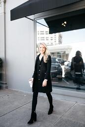 krystal schlegel,blogger,coat,jeans,shoes,bag,top,leggings,all black everything,black coat,black boots