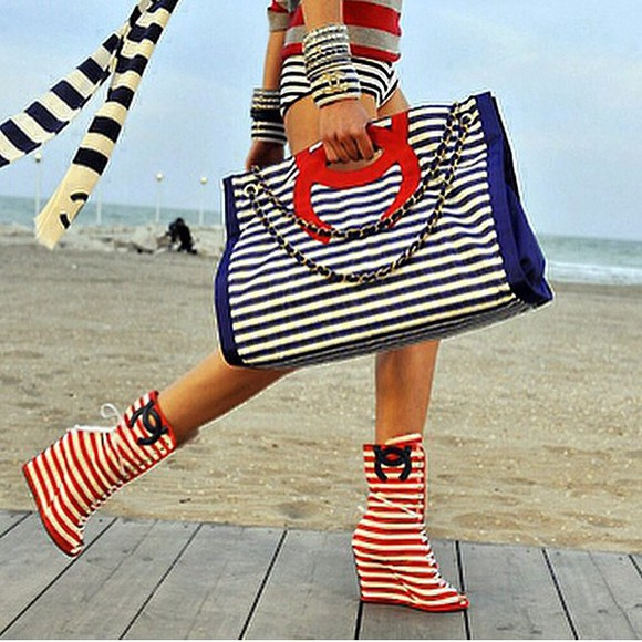 bag tote bag red white blue stripes chanel