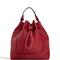 Red solid color drawstring bucket bag
