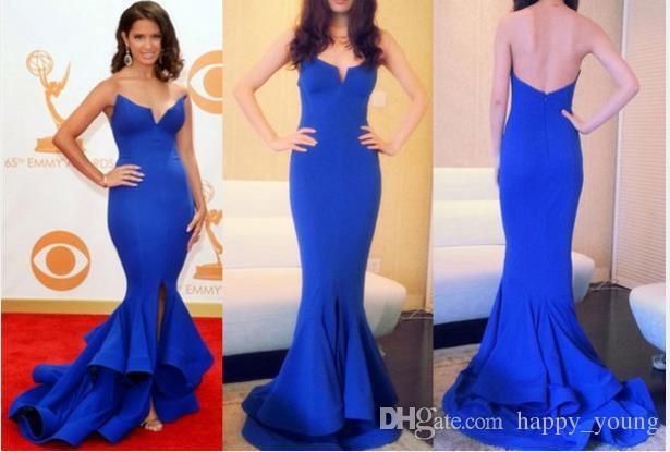 Wholesale Celebrity Dresses - Buy Sexy Celebrity Dresses Strapless Royal Blue Satin Long Woman Celebrity Dress Formal Mermaid Evening Gown Grammy Awards 2014 $93.66 | DHgate