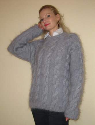 sweater hand knit made grey mohair cable supertanya fluffy soft wool angora cashmere alpaca